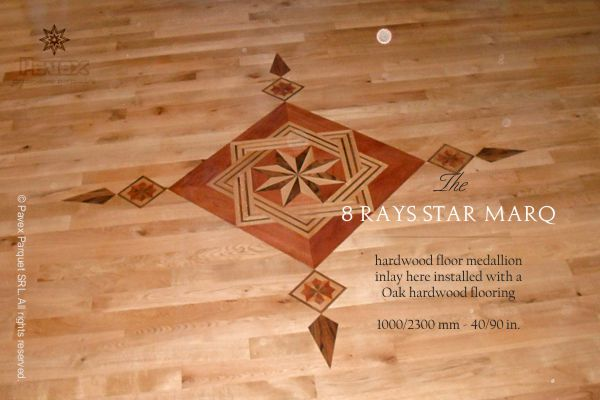 The 8 RAYS STAR MARQ hardwood floor medallion inlay. Part of the GEOMETRICA  Collection. http://www.pavexparquet.com/en/gallery/no112-hardwood-floor… - The 8 RAYS STAR MARQ Hardwood Floor Medallion Inlay. Part Of The