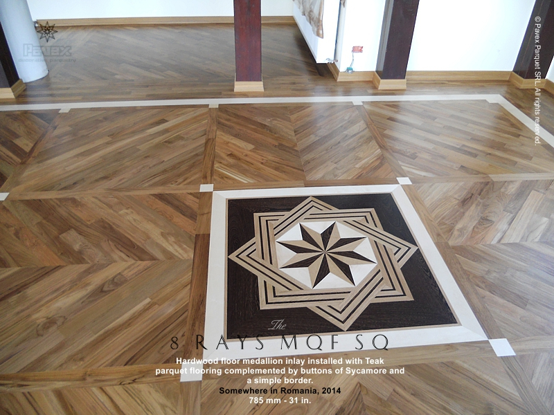 The 8 rays mqf sq hardwood floor medallion for Wood floor medallion designs