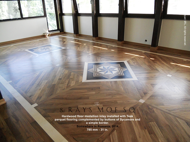No 141 The 8 Rays Mqf Sq Hardwood Floor Medallion Inlay