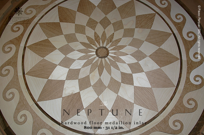 The neptune hardwood floor medallions closeview for Wood floor medallions inlay designs