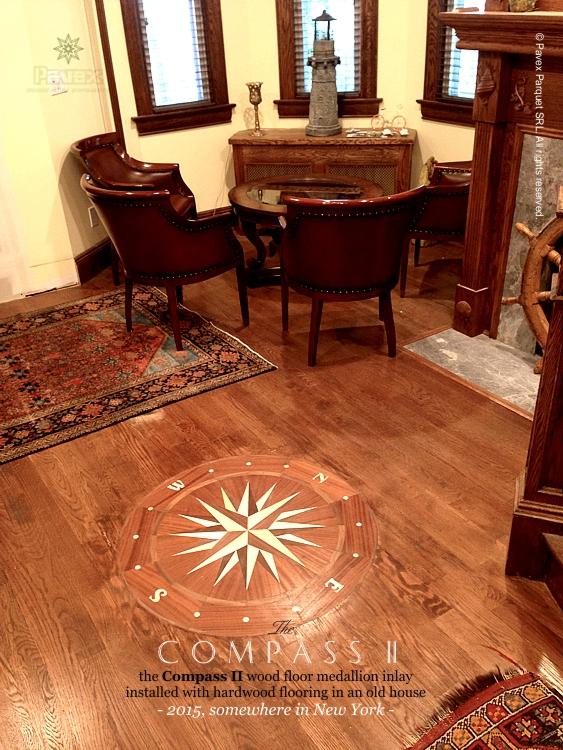 The compass ii hardwood floor medallion installed for Hardwood floors york pa