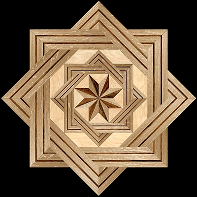 8 RAYS DF I - Hardwood Floor Medallion