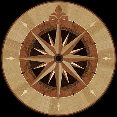 Hardwood floor medallions the marqueteria collection for Wood floor medallion designs