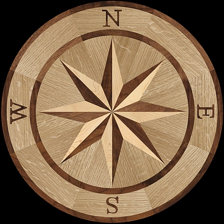 MQM101/a - Compass I hardwood floor medallion pattern