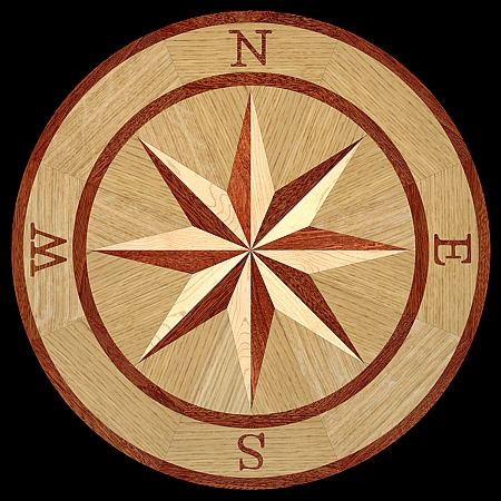 MQM101/b - COMPASS I hardwood floor medallion pattern