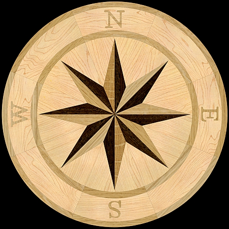 MQM101/c - COMPASS I hardwood floor medallion pattern