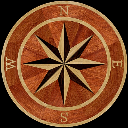 MQM101/d - COMPASS I hardwood floor medallion pattern