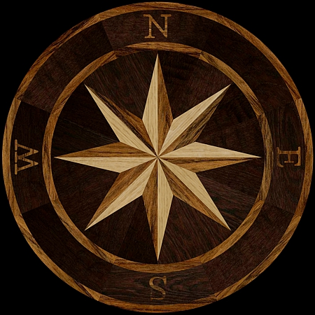 MQM101/e - COMPASS I hardwood floor medallion pattern