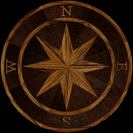 MQM101/f - COMPASS I hardwood floor medallion pattern