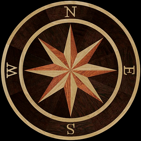 MQM101/g - COMPASS I hardwood floor medallion pattern