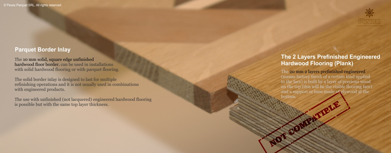 1/6 - Two Layers Engineered Hardwood Flooring vs. Solid Hardwood Floor Border Inlays