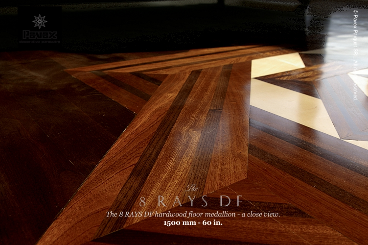 No.34: The 8 Rays DF II hardwood floor medallion - closeview