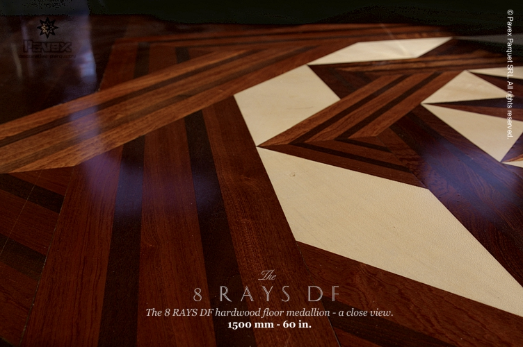8 Rays Double Frame hardwood floor medallion inlay, close view