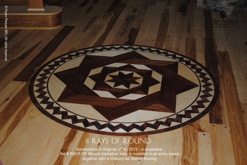 No.52: The 8 Rays DF Round wood floor medallion inlay
