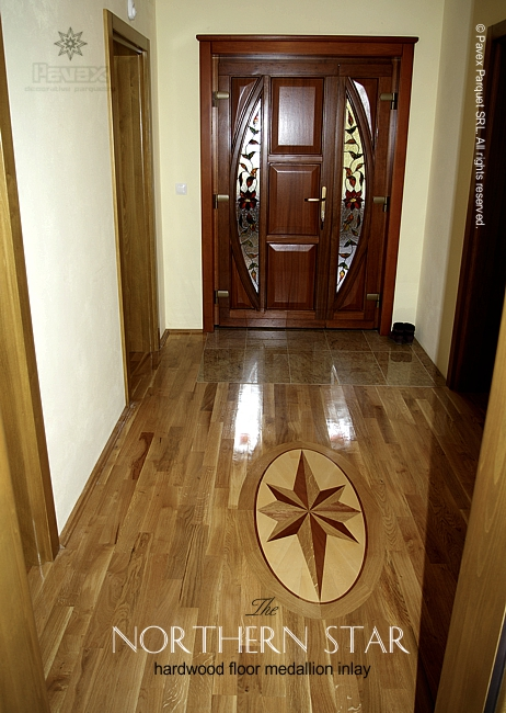No63 The Northern Star Hardwood Floor Medallion Installed In An