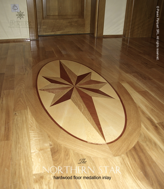 No65 The Northern Star Hardwood Floor Medallion Closeview 2