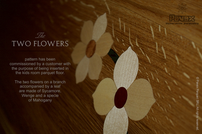 Parquet Flooring, Inset Inlay - Two Flowers