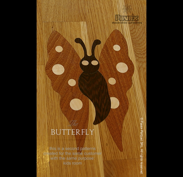 Parquet Flooring, Inset Inlay - Butterfly