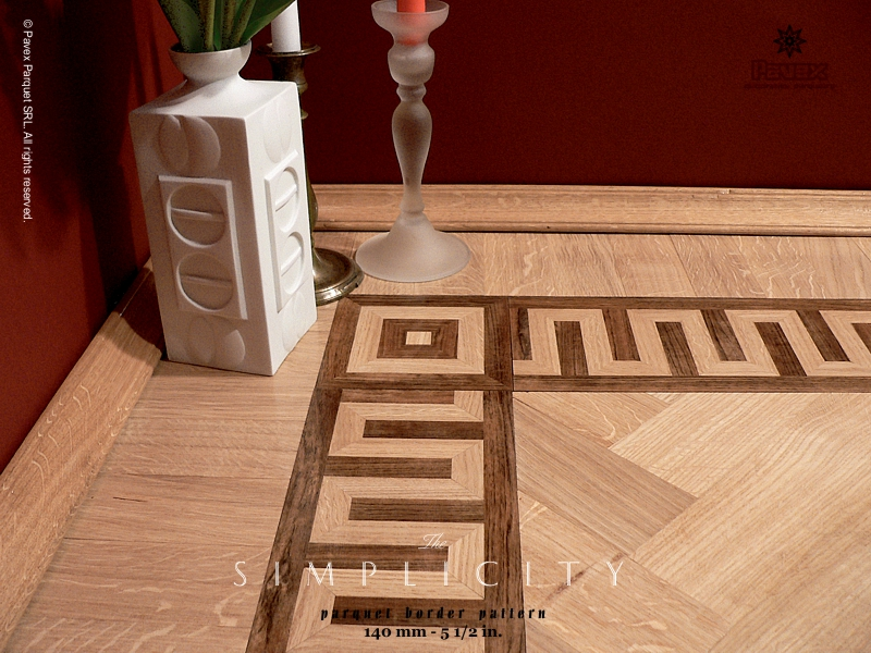 No.9: Simplicity hardwood floor border inlay - close view